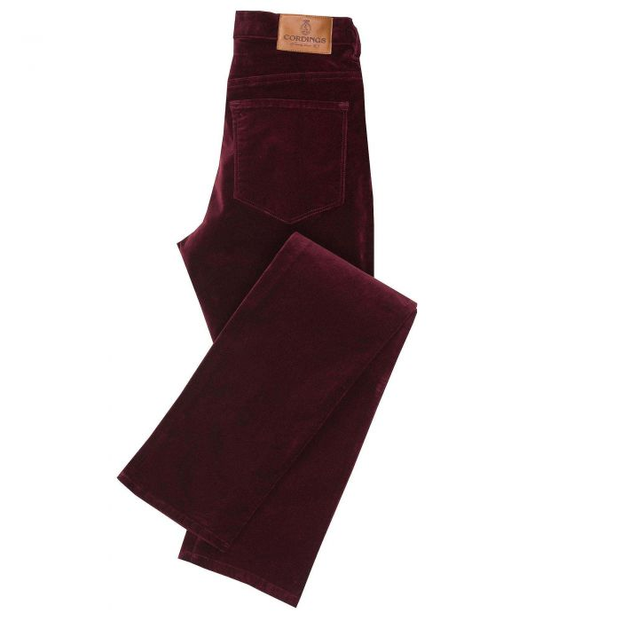 Wine stretch velvet jeans