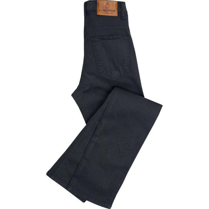 Black Noir Stretch Cotton Slim Leg Trousers