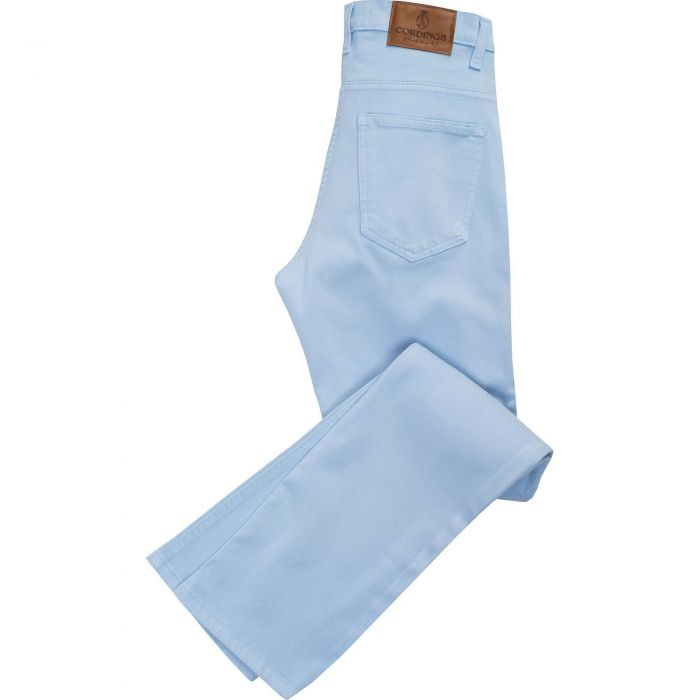 Light Blue Stretch Cotton Slim Leg Trousers