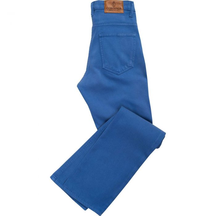 Royal Blue Stretch Cotton Slim Leg Trousers