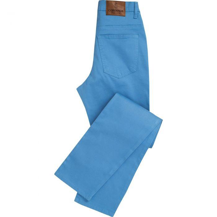 Blue Stretch Cotton Slim Leg Trousers