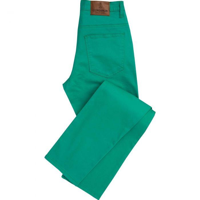 Green Stretch Cotton Slim Leg Trousers