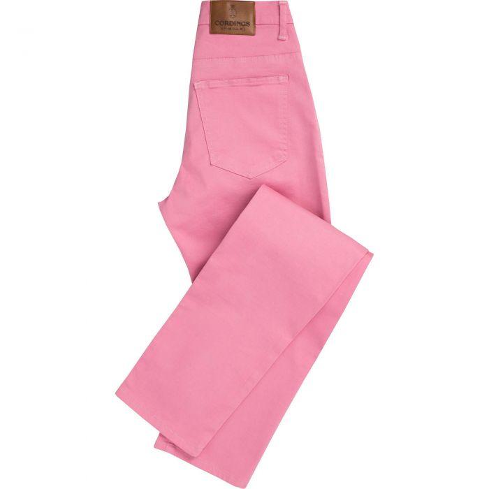 Pink Stretch Cotton Slim Leg Trousers