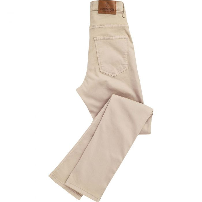 Tan Beige Stretch Cotton Slim Leg Trousers
