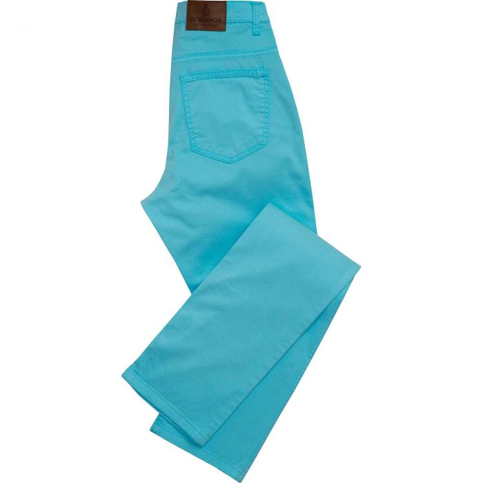 Turquoise Stretch Cotton Slim Leg Trousers