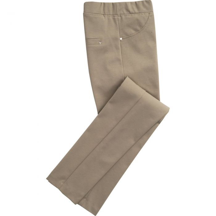 Khaki Cotton Stretch Pull Up Trouser