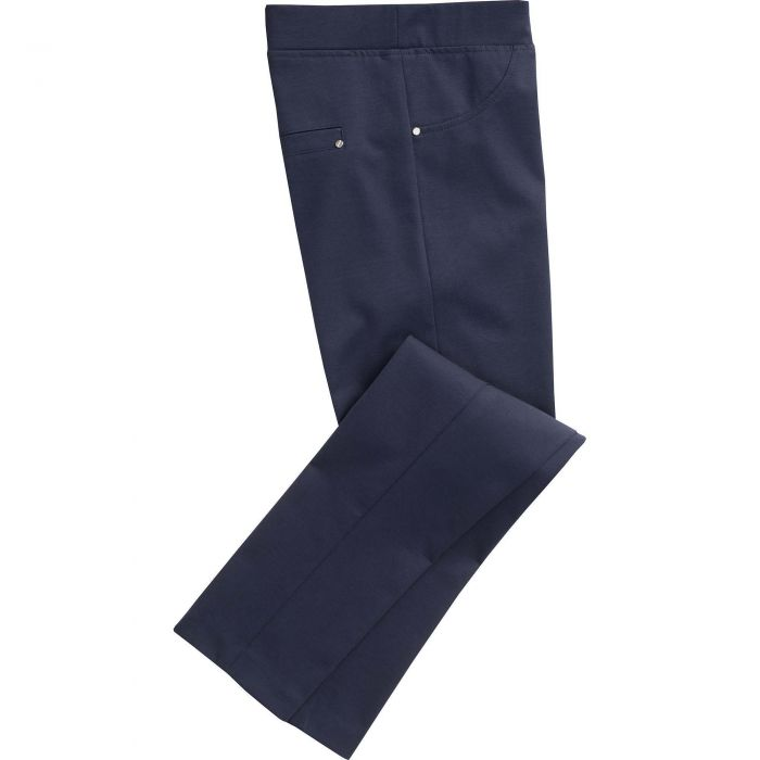 Navy Cotton Stretch Pull Up Trouser