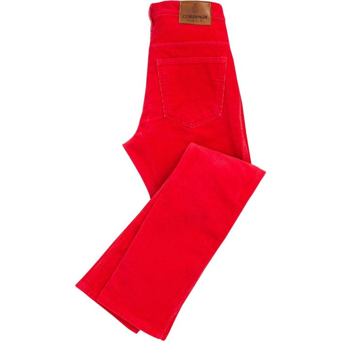 Red Soft Stretch Needlecord Jeans