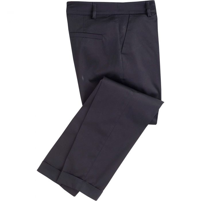 Navy Cotton Stretch Crop Trousers