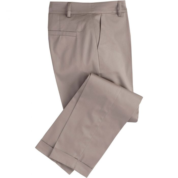 Taupe Cotton Stretch Crop Trousers