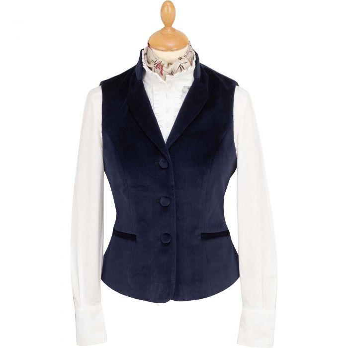 Navy Blue Fitted Velvet Waistcoat