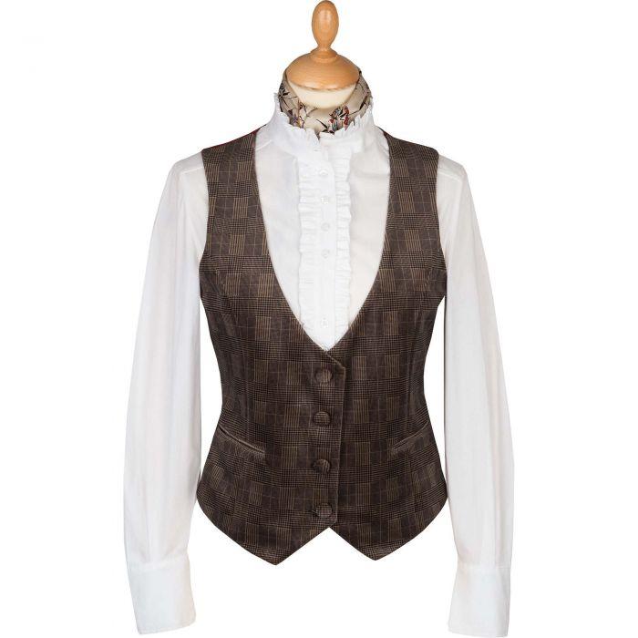Camel Velvet Check Tailored Waistcoat
