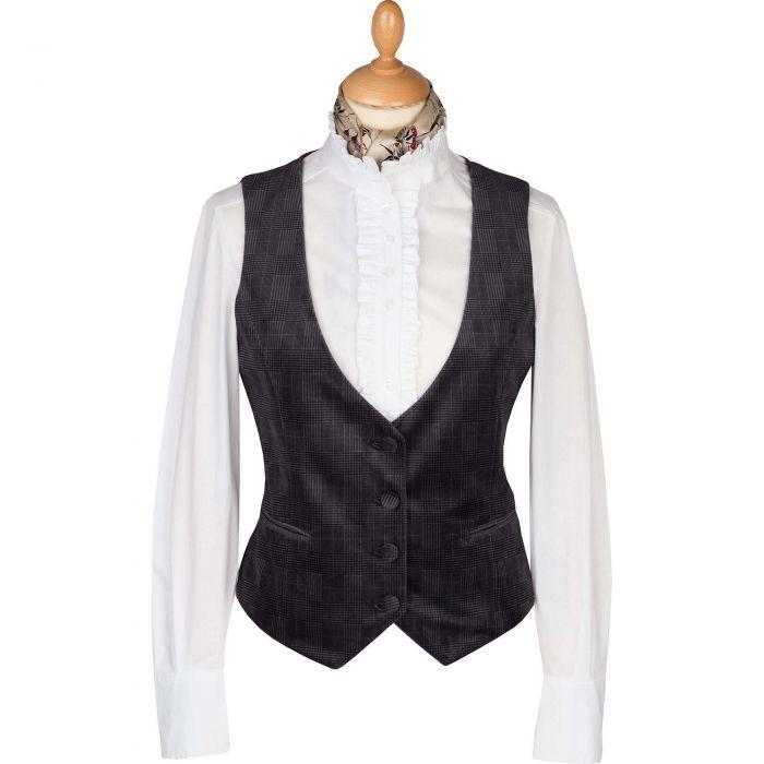 Chocolate Velvet Check Tailored Waistcoat