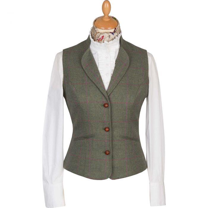 Green Hampstead Tweed Fitted Waistcoat
