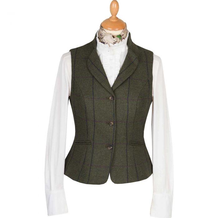 Green Heathfield Tweed Fitted Waistcoat