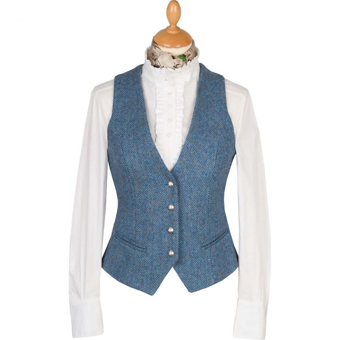 Blue Harris Tweed Wantage Tailored Waistcoat