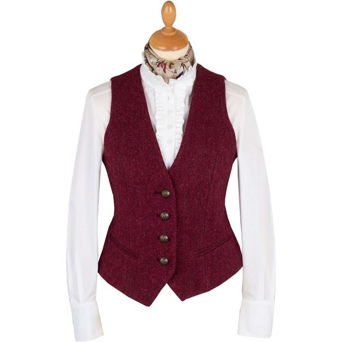 Wine Roxby Harris Tweed Tailored Waistcoat