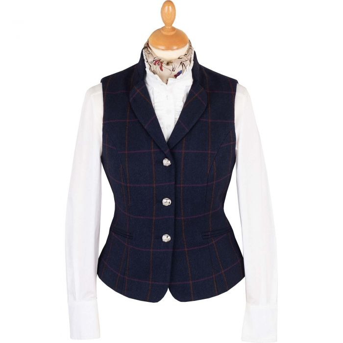 Navy Cowley Tweed Fitted Waistcoat
