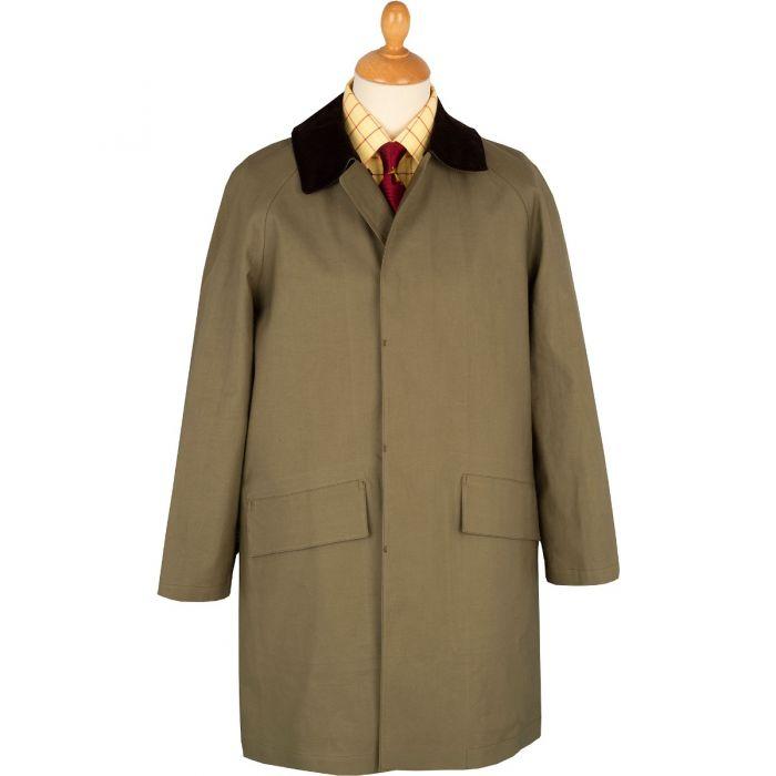 Khaki Huntsman Mackintosh with Corduroy Collar