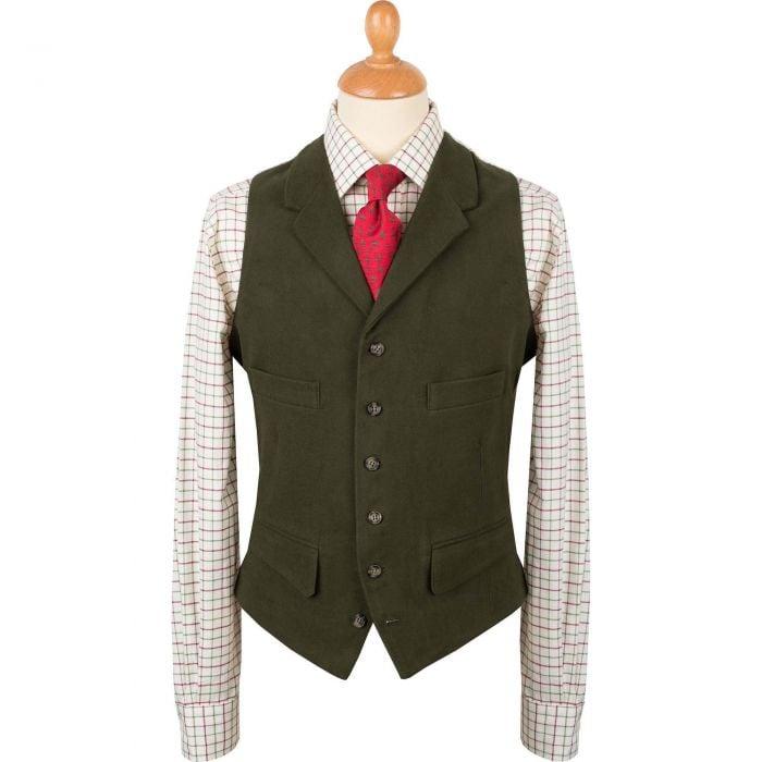 Olive Collared Moleskin Waistcoat