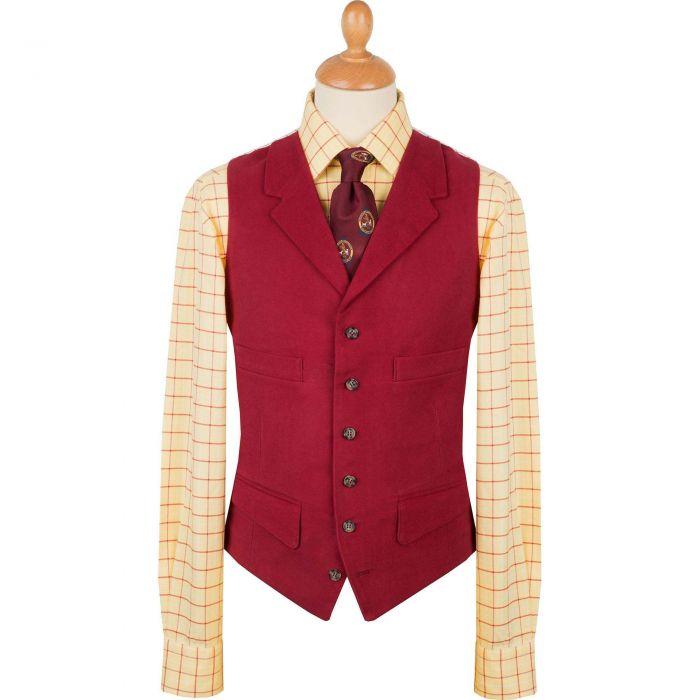 Wine Collared Moleskin Waistcoat