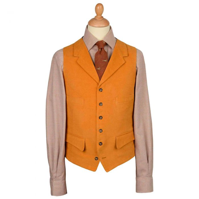 Orange Rust Collared Moleskin Waistcoat
