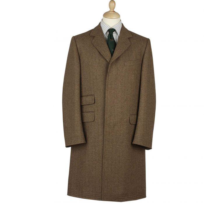Mid Brown Herringbone Tweed Covert Coat