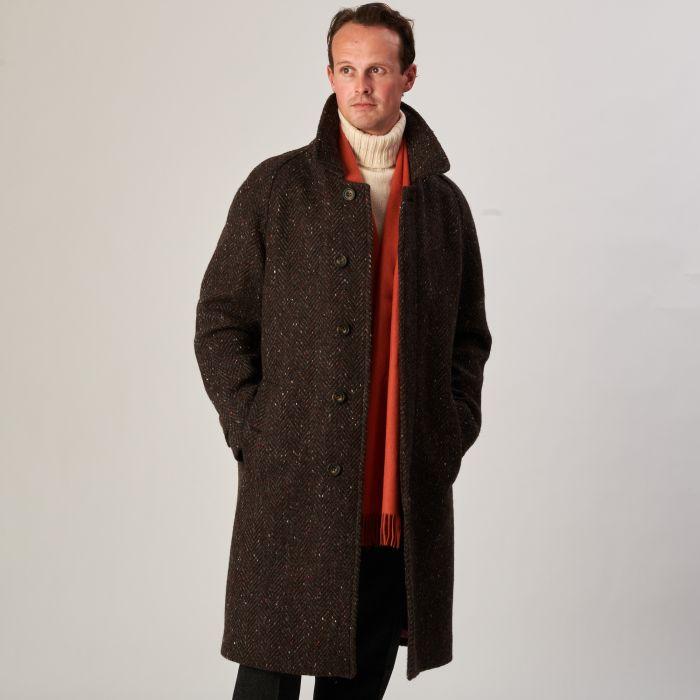 Brown Grey Herringbone Donegal Follifoot Coat
