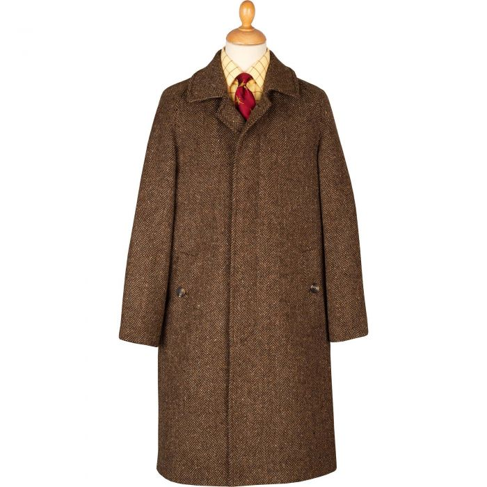 Chocolate Herringbone Donegal Follifoot Coat