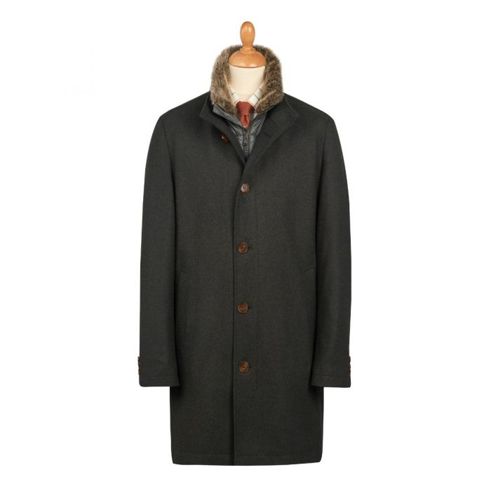 Bramhope 3/4 Length Quilted Wool Coat