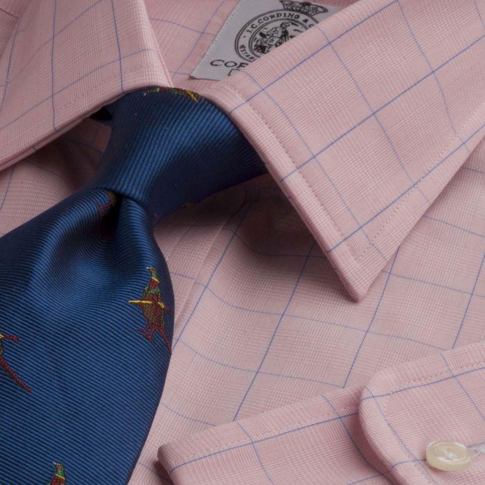 Pink Blue Overcheck Poplin Shirt