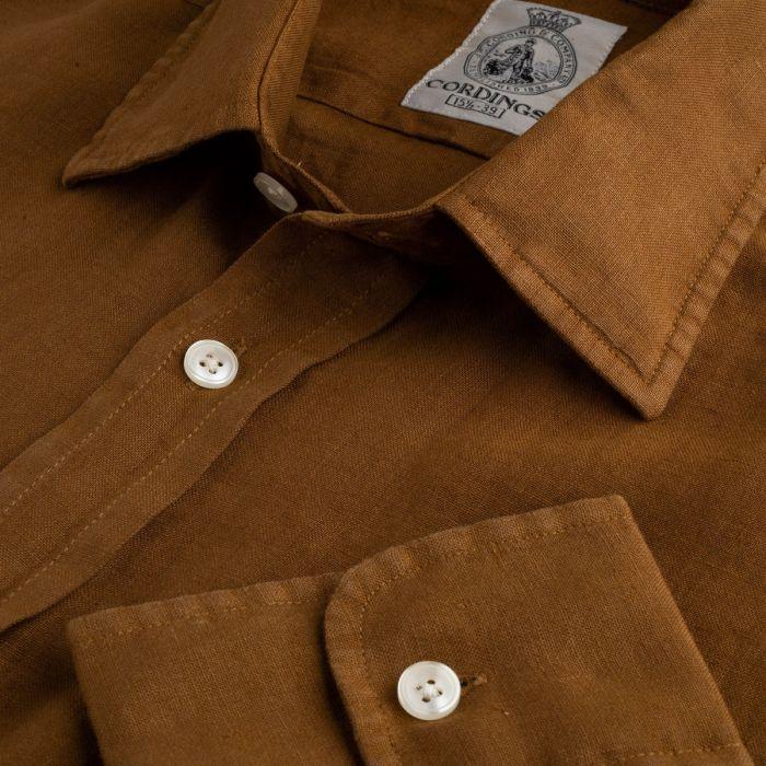 Bark Brown Vintage Linen Shirt