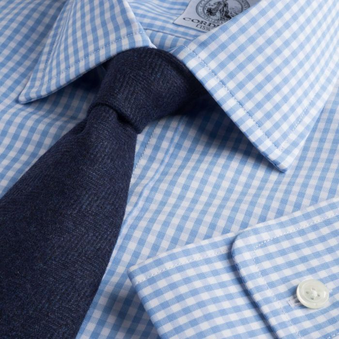 Sky Blue Grateley Gingham Poplin Shirt