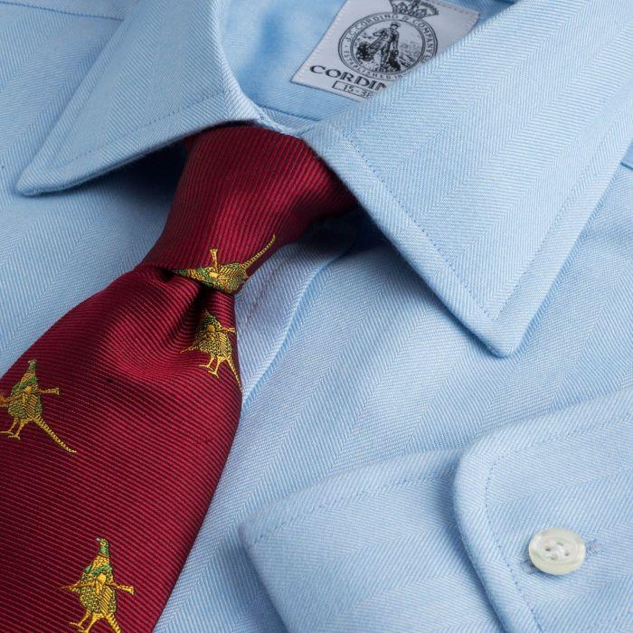Sky Blue Harewood Herringbone Shirt