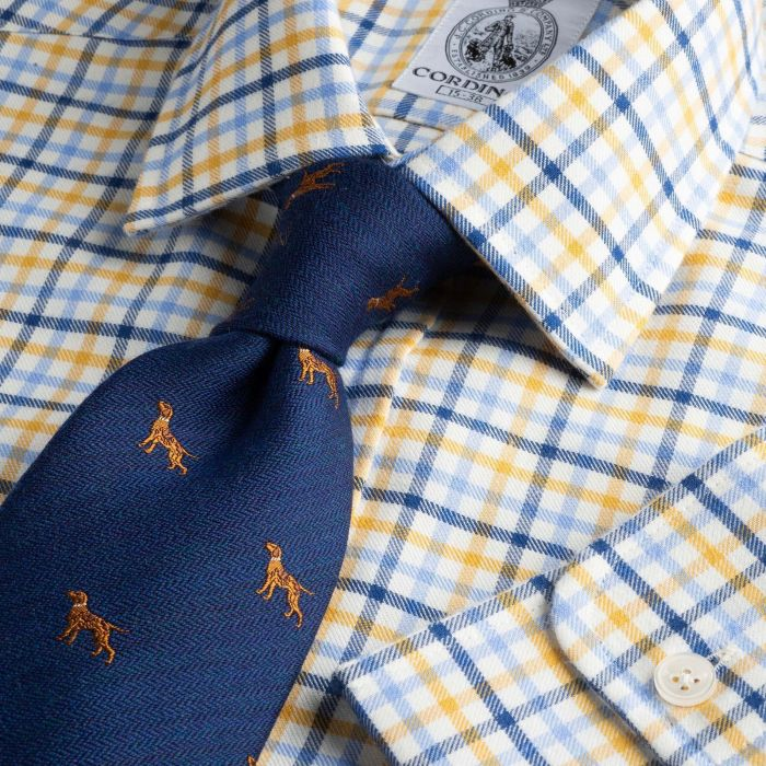 Navy Blue Spalding Check Shirt