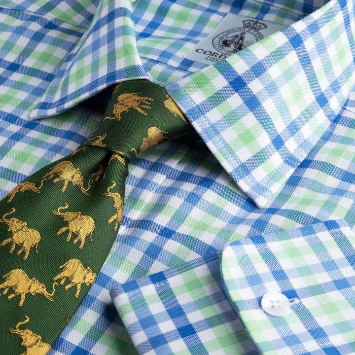 Blue and Green Burford Oxford Check Shirt