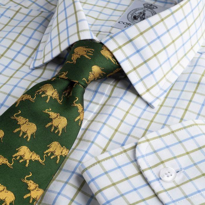 Blue and Olive Norton Poplin Check Shirt