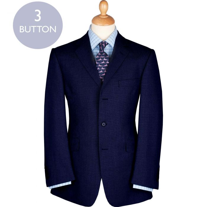 Navy 11oz Three Button Birdseye Suit
