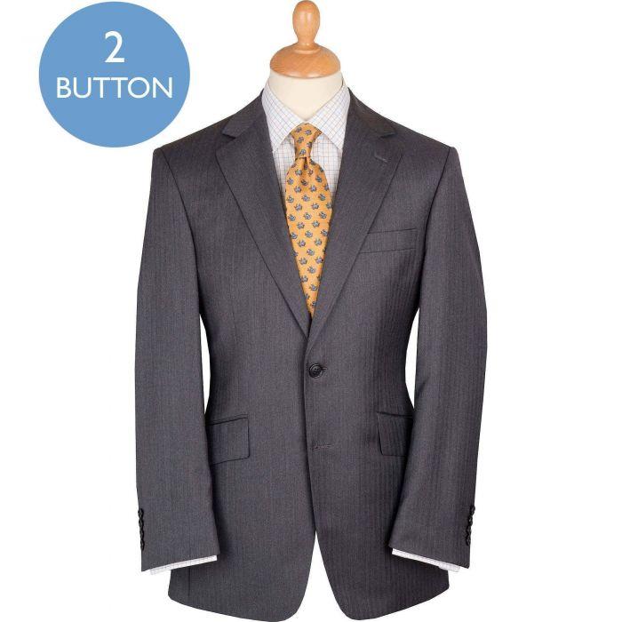 Mid Grey 9oz Two Button Fine Herringbone Suit