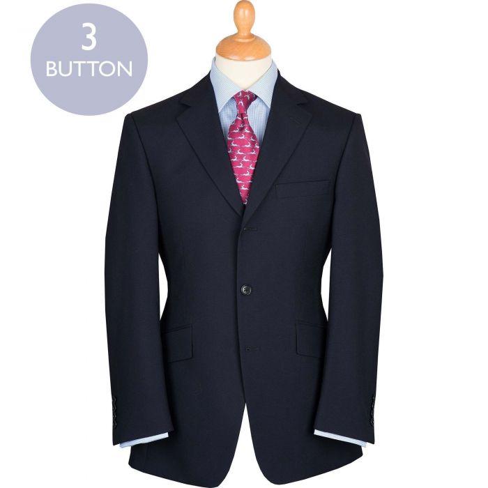 Navy 9oz Three Button Plain Weave Suit