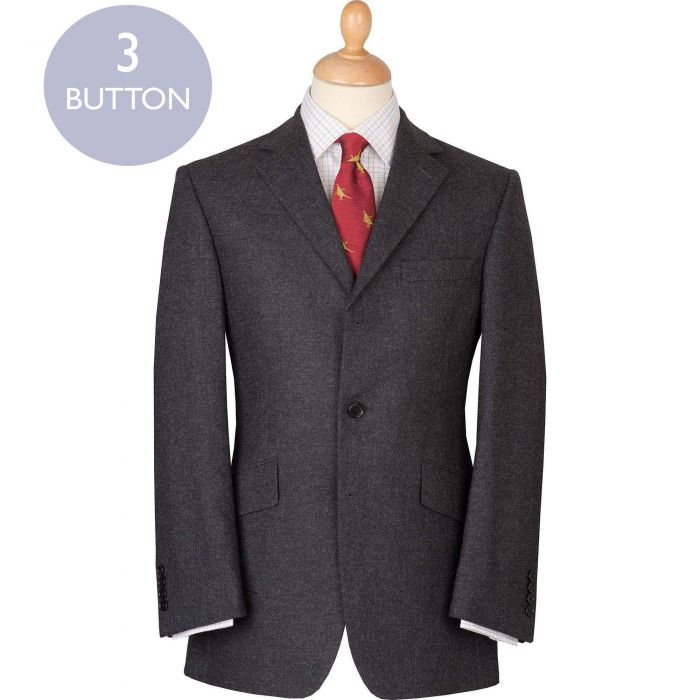 Charcoal 12oz Three Button Flannel Suit
