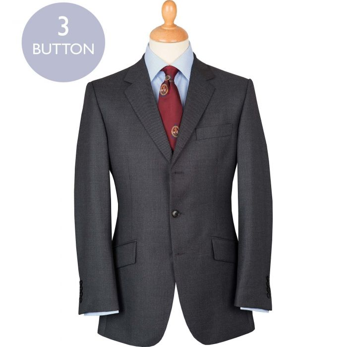 Grey 10oz Three Button Birdseye Suit