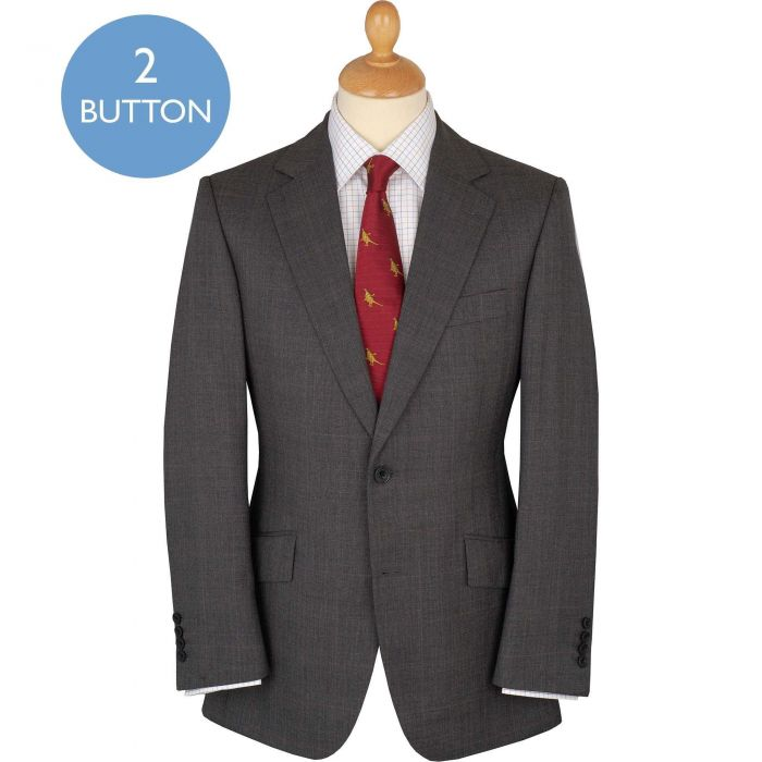 Grey Red 10oz Two Button Prince of Wales Suit
