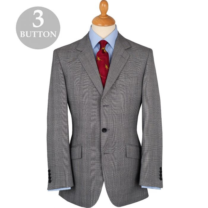 Grey 8oz Three Button Prince of Wales Alfred Suit