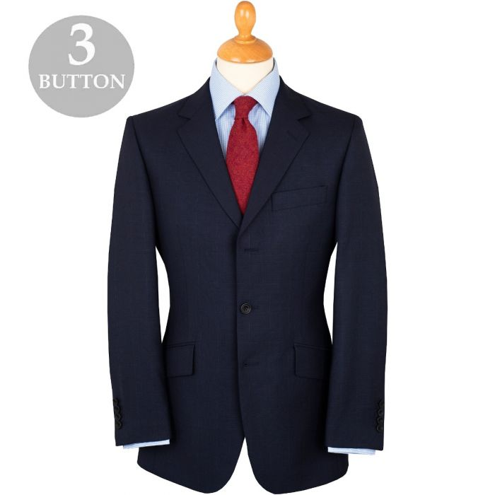 Navy 10oz Three Button Peter Check Suit