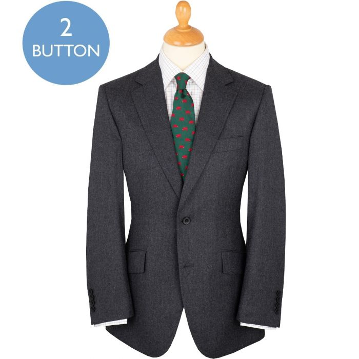 Mid Grey 9oz Two Button Summer Flannel Suit