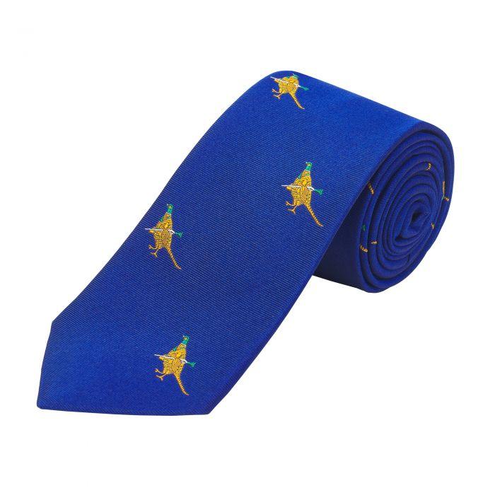 Royal Blue Hunting Pheasant Silk Tie