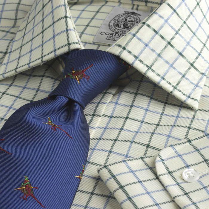 Blue Green Medium Check Tattersall Shirt