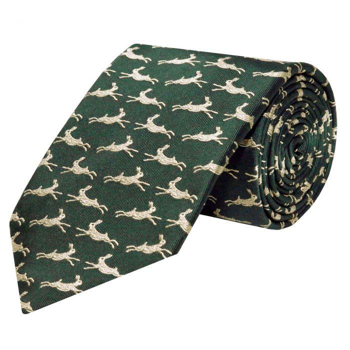 Olive Green Silk Hare Tie