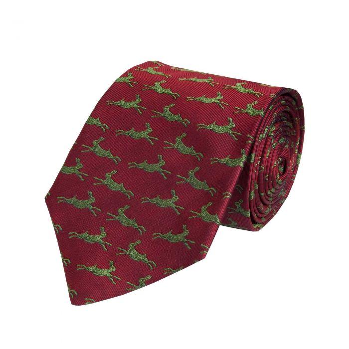 Wine Bottle Woven Silk Hare Tie